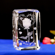 Engraved Crystal 3D Rose Flower Colorful LED Light Amazing Gifts for Valentine 5*5*8CM Led table Lamps