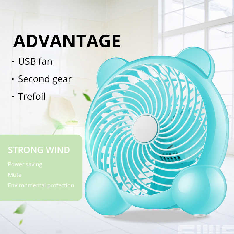 Creative Double-vane Mini USB Fan For Office Home Portable Computer PC Fan Electric Laptop Fan With Double Side Fan Blades