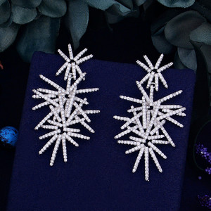 Image 3 - Godki fogos de artifício de luxo na moda zircônia cúbica festa de casamento gota brinco moda jóias para mulher