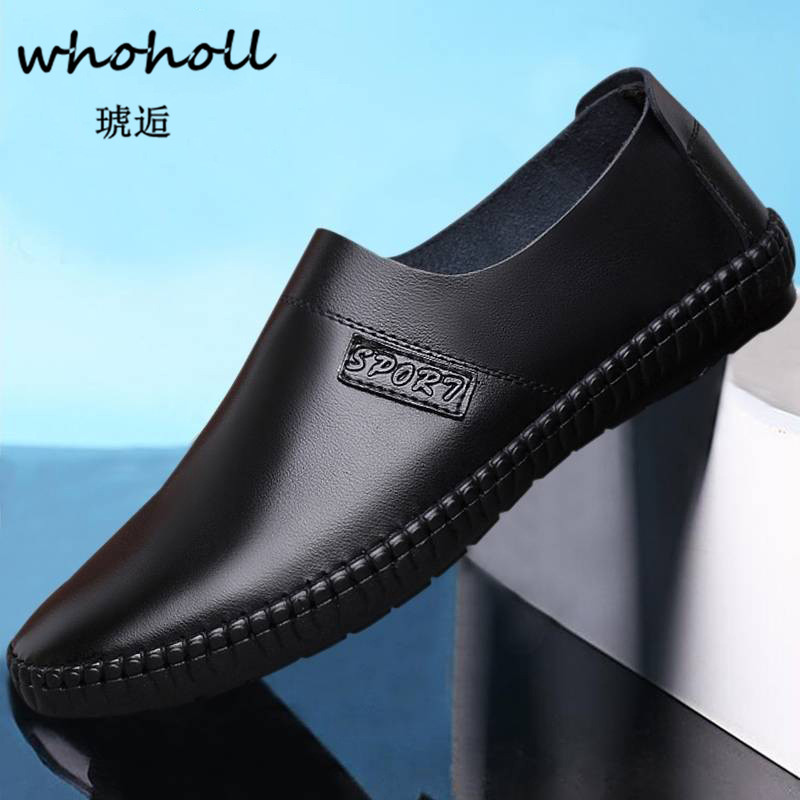Whoholl Mens Shoes Casual Luxury Brand Summer Men Loafers Genuine Leather Moccasins Comfy Breathable Slip on Boat Shoes Sneakers black real leather 2017 mules summer brown european loafers men genuine shoes moccasins half male casual slip ons hot sale