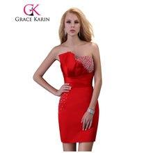 74471a7561fe Grazia Karin Vestito Da Cocktail Paillettes Rosso Sexy Abiti Del Partito  Robe De Cocktail Senza Spalline In Raso Mini Robes De S..