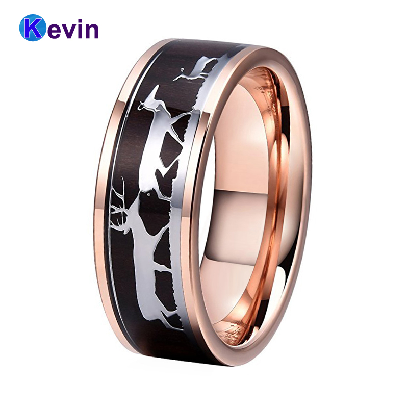 Rose Gold Wedding Ring For Men And Women Tungsten Ring With Family Love 5 Deers And Dark Black Wood Inlay New Arrivals new pure au750 rose gold love ring lucky cute letter ring 1 13 1 23g hot sale