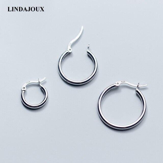 a535347900fd Pendientes de aro de plata esterlina 925 clásicos para mujeres de 3 tamaños  redondos de plata esterlina-joyería aros pequeños pendientes