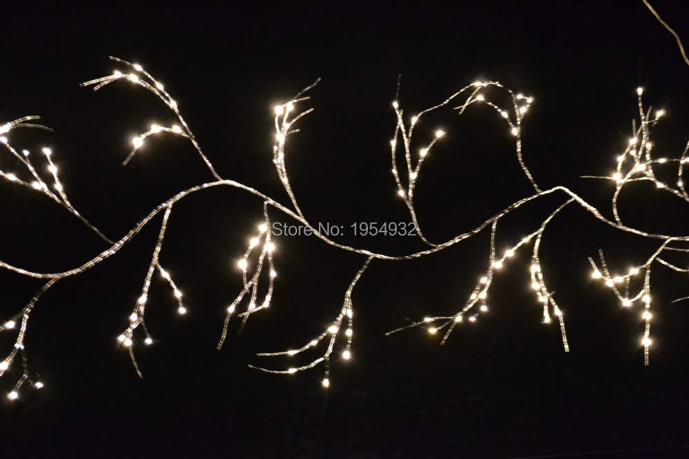 3V Low Voltage Battery Type Shining Silver or Gold Willow Garland 6Ft Bendable Branch Light 60 PCs LED Warm White or Pure White