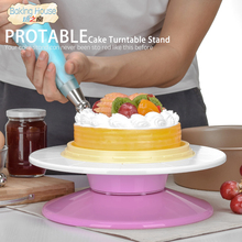 ФОТО 29cm Plastic Cake Turntable Rotating Cake Decorating Turntable Anti-skid Round Cake Stand Cake Rotary Table