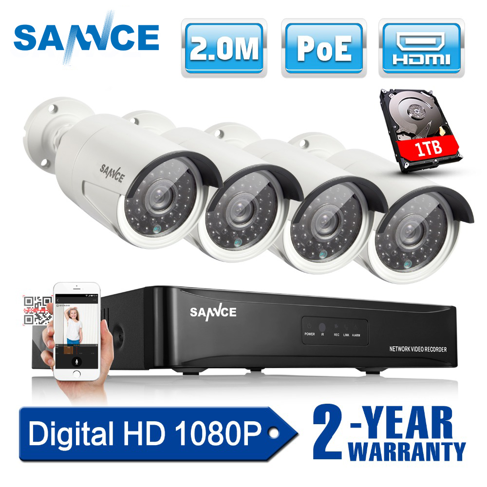 CAMERA SANNCE 4CH 1080 p CCTV Sistema POE NVR 1080 p Uscita Video 4 pz 2.0MP CCTV Macchina Fotografica del IP di POE Casa di Sorveglianza di sicurezza Kit 1 tb HDD