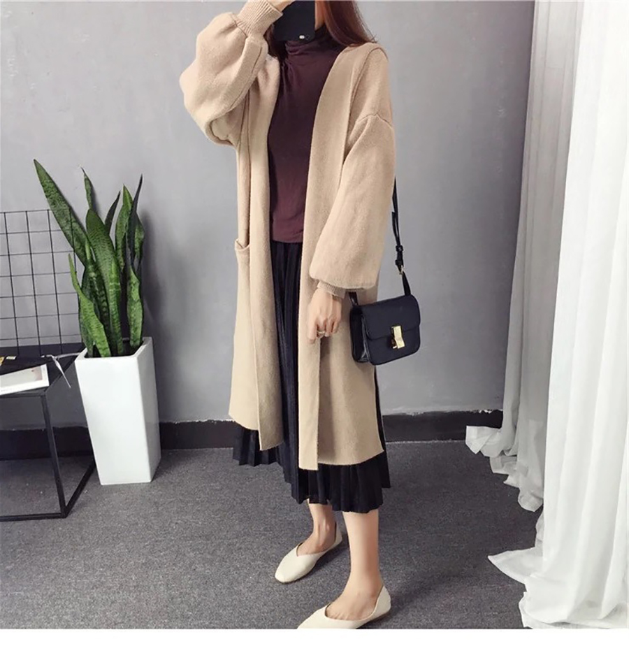 Autumn Winter Women Long Cardigans Hooded Sweaters Casual Knitted Outwear Puff Sleeves for Fashion Girls Female Warm Clothing (10)