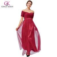 Grace Karin Red Evening Dress 2017 Boat Neck Tulle Short Sleeve Elegant Formal Evening Gowns Special