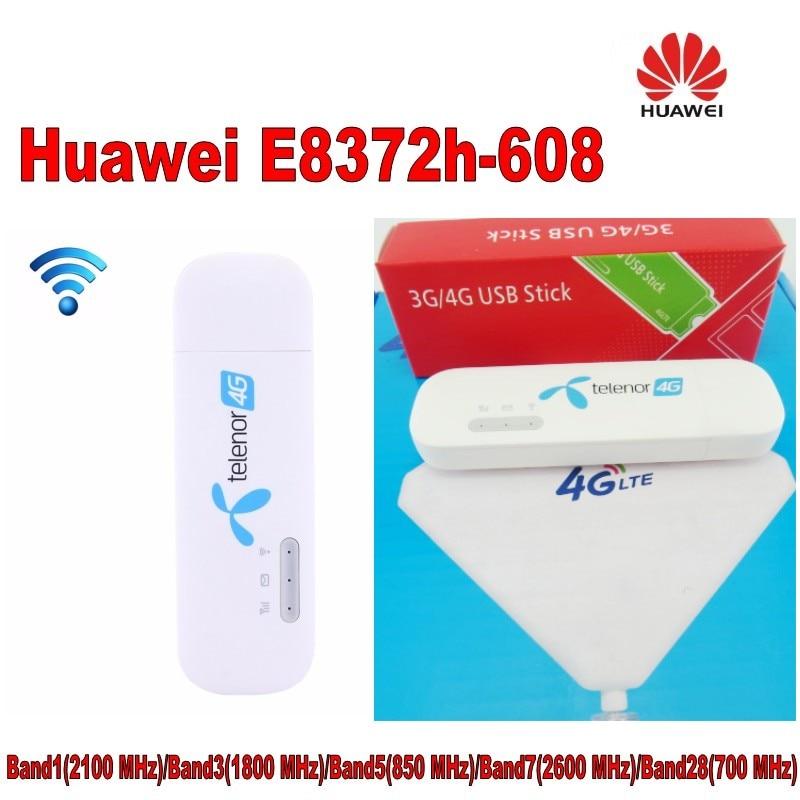 1000pcs (+4g TS9 antenna )Unlocked New Huawei E8372 E8372h-608 4G LTE 150Mbps Wireless USB WiFi Modem все цены