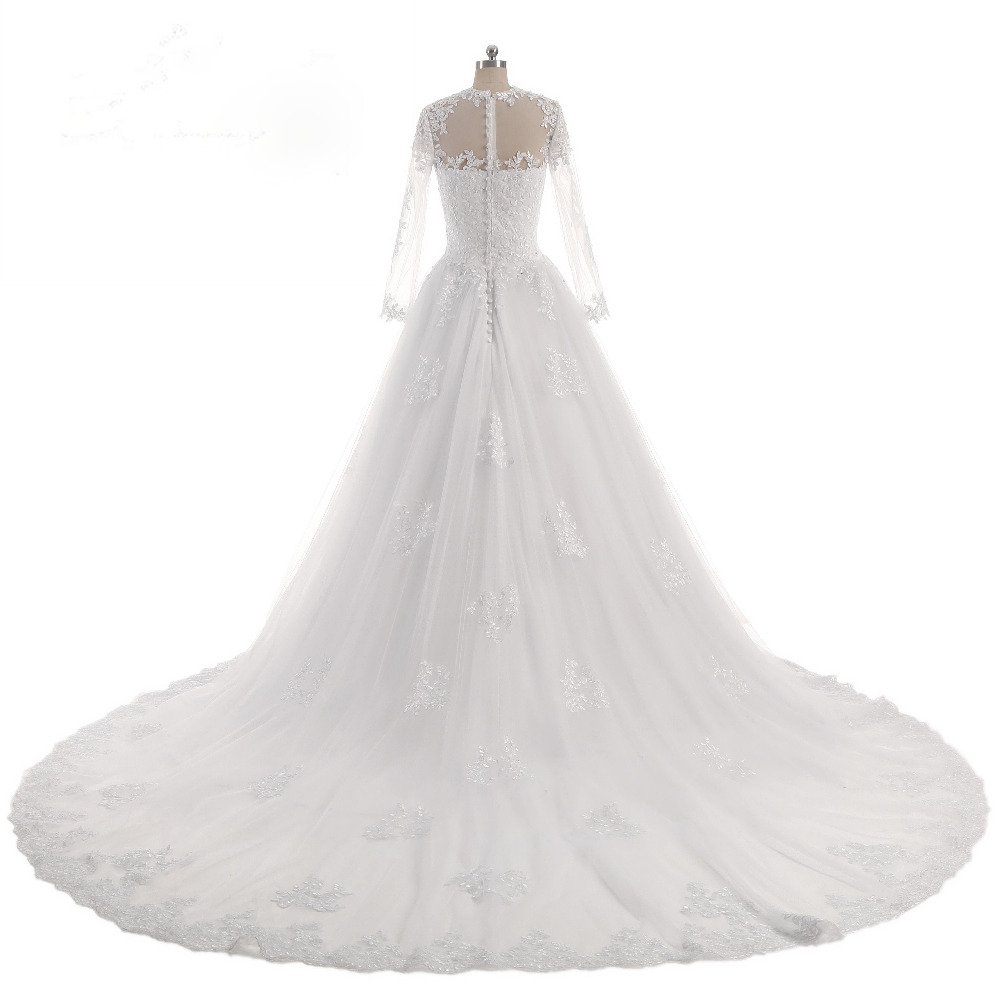 Lover Kiss Vestido De Noiva O-Neck Iusion Back Long Sleeve Wedding Dress Lace Ball Gown Wedding Gowns Custom-Made Wedding Dress 2