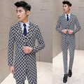 Frete grátis nova Coreano boate traje do estágio cantora estilista moda ternos dos homens casual xadrez 3 peça definir o vestido de casamento ternos