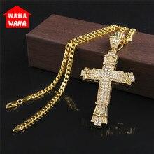 Gold Cross Necklace Pendant Diamond-encrusted Retro Cross Pendant Crucifix Cross Jesus Piece Necklace&Pendants Men/Woman Jewelry