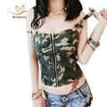 Rachelcoco New Arrival Summer Women Denim Crop Tops Army Green Sleeveless Spaghetti Strap Camo Printing Zipper Cool T Shirt