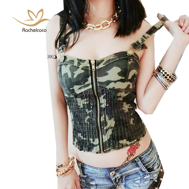e0a489e7ac9c7 Rachelcoco New Arrival Summer Women Denim Crop Tops Army Green Sleeveless  Spaghetti Strap Camo Printing Zipper Cool T Shirt