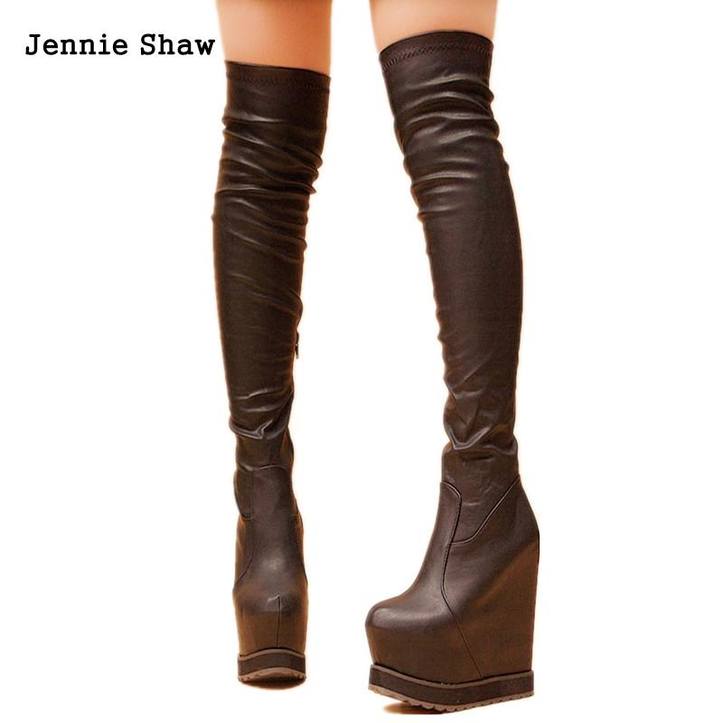 Hidden Heel Wedges 15cm High Heel Long Boots For Women Over The Knee Long Boots High Thin Leg low heel thin high leg elastic women s boots over the knee socks boot shoes