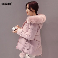 RUGOD 2018 New Women Winter Coat Thick Warm Faux Fur Collar Hooded Parka Jacket Female Long