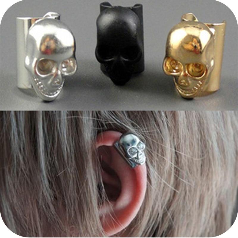 OMH Wholesale 12pair OFF 42%= $0.37/pair  EH50 Fashion Punk Clip Earrings Skull Clip Clip-on 5g