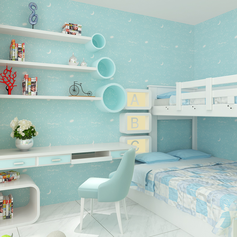 Blue Wallpaper Child Boy Kids Bedroom Moon Luminous Wall