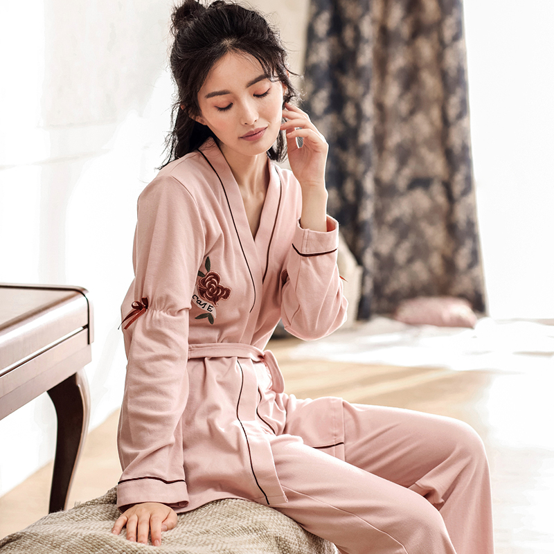QT Brand Women Nightgowns 100% Cotton long-sleeve Nightdress embroidery lacing robe Sleepwear   Pajama     Sets   Home clothing
