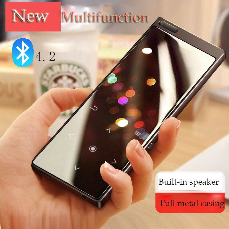 Metal Bluetooth 4.0 touch screen MP3 player Bulit-in 8GB and Speaker with FM radio/recording Portable Slim Lossles Sound walkman