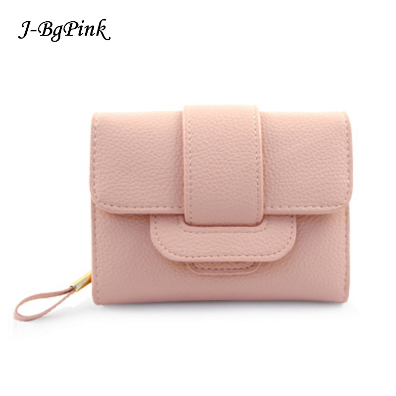 2017 New Luxury Soft Leather Women Hasp Wallet Fashion Tri-Folds Clutch For Girls Coin Purse Card Holders Female Pink Money Bag