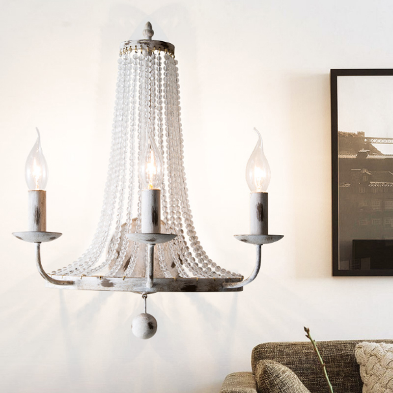 Américain rétro blanc double lumière applique murale design créatif fer corps cristal ornements LED E14 restaurant décoration éclairage