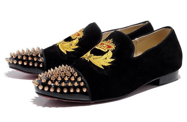 male femelle toe gold Spikes Harvanana shoes black suede red bottom loafers  shoes men and women Party Dress shoes Flats c0e4998bd