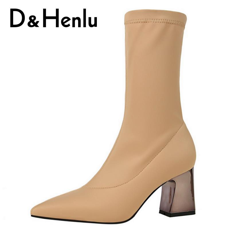 {D&Henlu}Elastic Stretch Boots For Women Socks Shoes Women Sock Boots Mid-calf Botas Mujer 2018 High Heels Boots Sexy Metal Heel gaozze fashion women socks boots mid calf thick high heels boots women comfortable elastic knitted fabric female boots brand