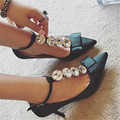 Increíble Joyas Esmeralda de La Boda Zapatos de tacón Alto Sexy Zapatos de Vestir de Fiesta Mujer T-correa de Sandalias de Gladiador Mujeres Bombas Zapato nupcial