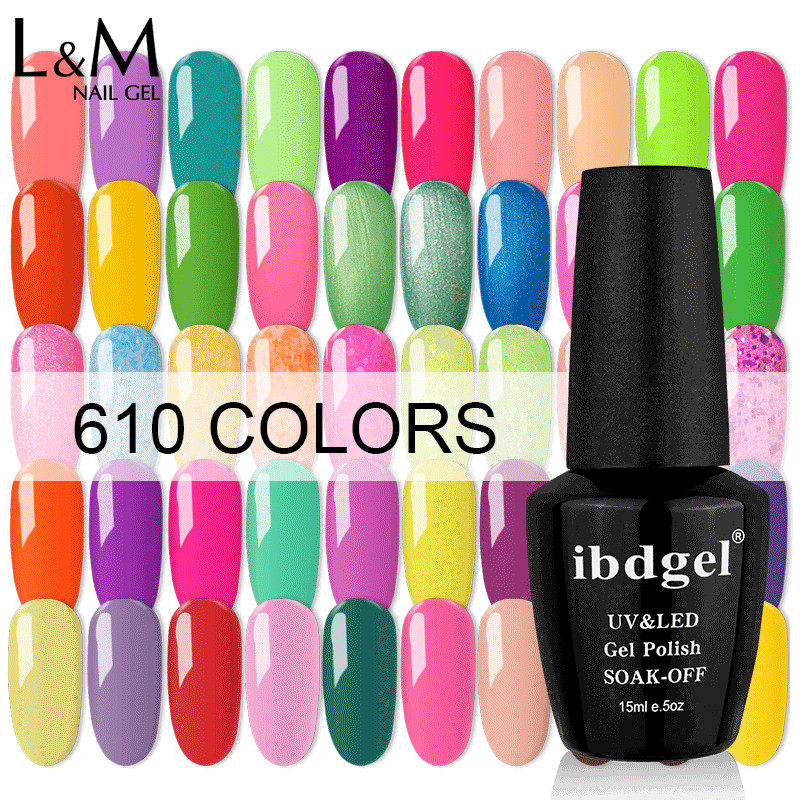 12 stk Ibdgel Gel Nail Polish Glitter 610 Farge Pretty UV Gel Polsk Nail Art Manicure 15ml Lakk Lacquer Soak Off Gel Polish