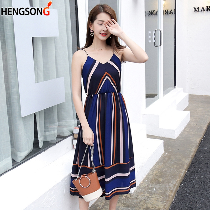 Fashion <font><b>Casual</b></font> <font><b>Striped</b></font> <font><b>Beach</b></font> <font><b>Dress</b></font> <font><b>Women</b></font> <font><b>Sexy</b></font> <font><b>Sleeveless</b></font> Spaghetti Strap Midi A Line Summer Party <font><b>Dress</b></font> 2018 Sundress Vestidos image