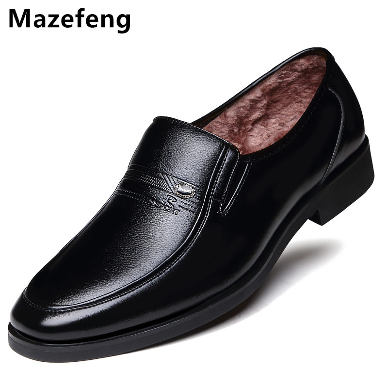 Winter Warm With Velvet Male Leather Shoes Men Dress Shoes Business Classic Square Toe Leather Shoes Men Formal Footwear Slip-On serene handmade winter warm socks boots fashion british style leather retro tooling ankle men shoes size38 44 snow male footwear