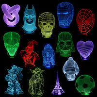 Novelty 3D Illusion Bulbing Night 7 Color Change Touch Switch Table Desk Lamp LED Light