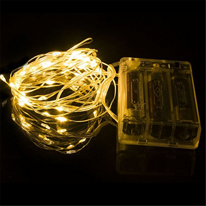 ECLH Fairy Lights AA Battery Powered 2M 20 3M 30 5M 50 10M 100Leds Silver Led Copper Wire String Light Decorative Fairy Lights