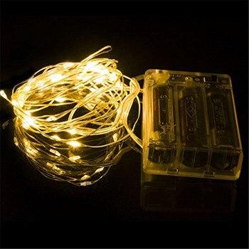 ECLH сказочные огни AA питание от аккумулятора 2 м 20 3 м 30 5 м 50 10 м 100 светодиодов Серебряная светодиодная медная проволока Гирлянда Свет Декорат...