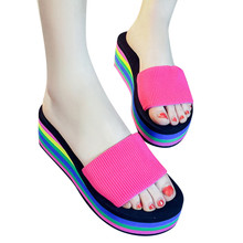 Summer Woman Shoes Woman Sandal Slippers Platform Bath Slippers Wedge Beach Flip Flops High Heel Slippers Beach Slide Shoes цена
