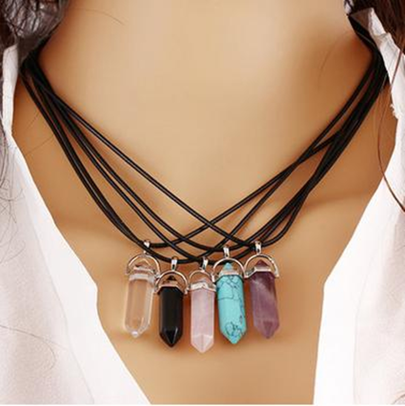 8SEASONS Created Fashion Multi Color Quartz Chakra font b Necklaces b font font b Pendant b