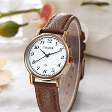 Golden Female Watch Ladies' Watches 2017 Famous Brand Women's Clock With Leather Strap reloj mujer