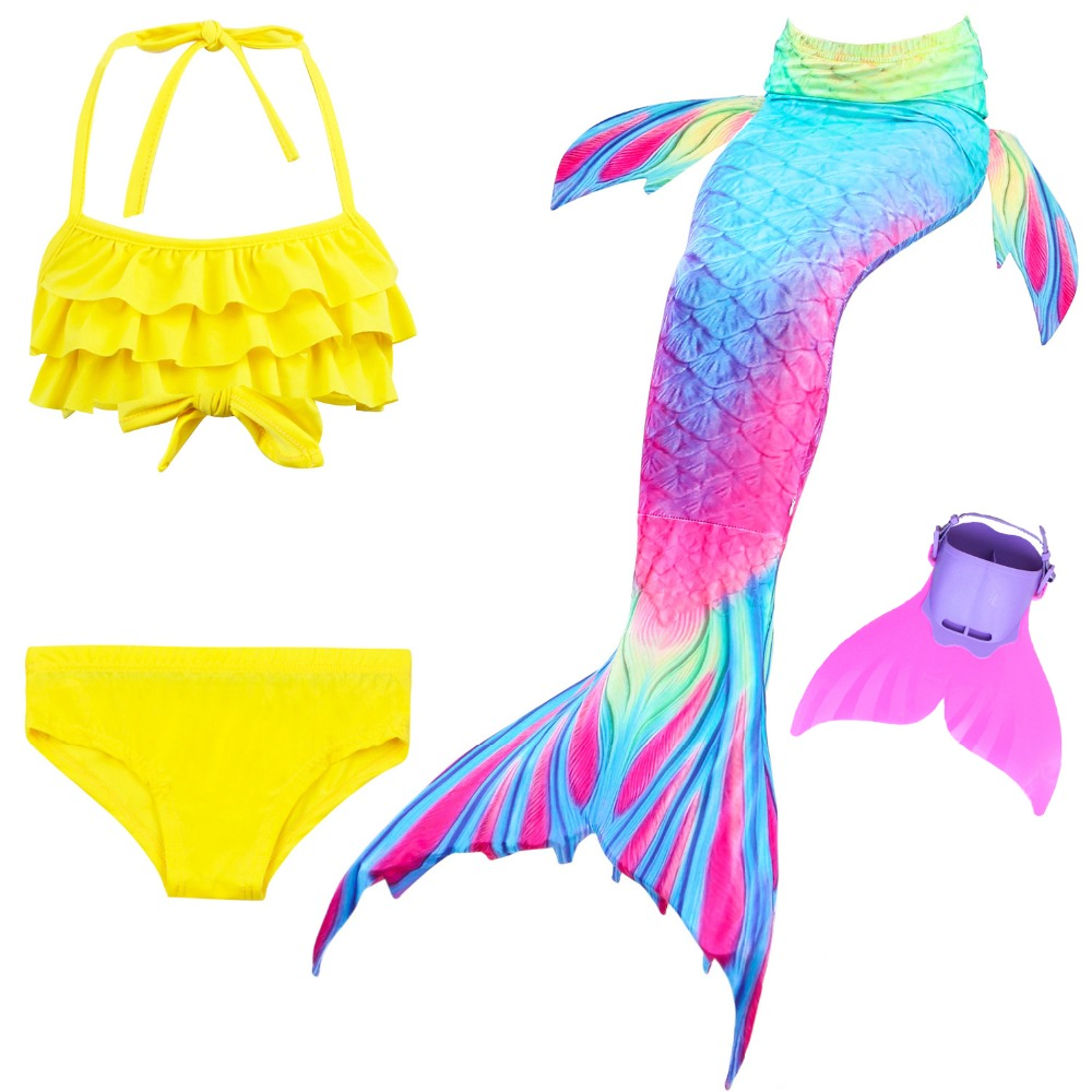 2018 Swimming Mermaid Tails Costume Children Girls Mermaid Swimsuit Easy Add Fin Kids Bikini Skirts Bathing Suit Cosplay