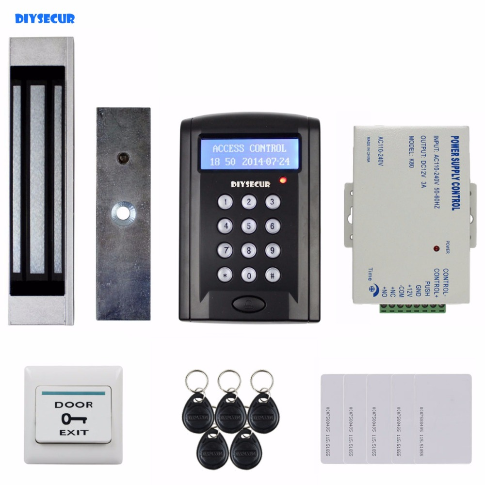 DIYSECUR Door Bell Button LCD 125KHz RFID Reader Password Keypad + 180kg Magnetic Lock Access Control System Full Kit Set BC200 diysecur touch button rfid 125khz metal keypad door access control security system kit magnetic lock for home office use