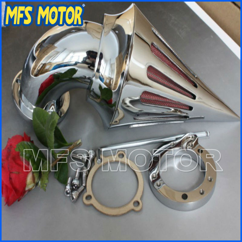 NEW motorcycle Spike Air Cleaner filter kits for Harley Davidson S&S custom CV EVO XL Sportster CHROME chrom cone spike air cleaner intake filter kit for harley sportste cv s