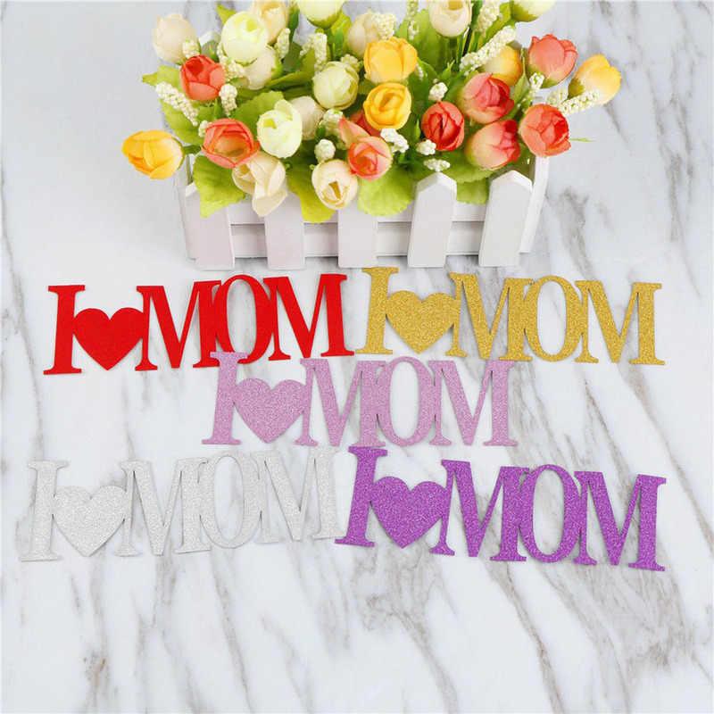 1 pcs I Love You Mom Dad ทองกระดาษ Cupcake Toppers วันพ่อ Happy เค้กวันเกิด Party Decor ของขวัญ