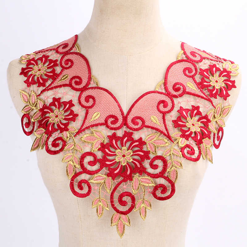1X embroidered floral lace neckline neck collar trim clothes sewing appliques VQ