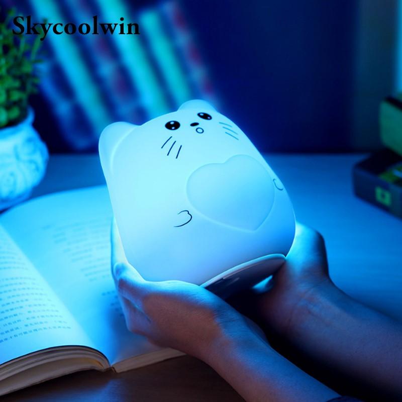 7 Colors Cat LED USB Children Animal Night Light Silicone Soft Cartoon Baby Nursery Lamp Breathing LED Night Light