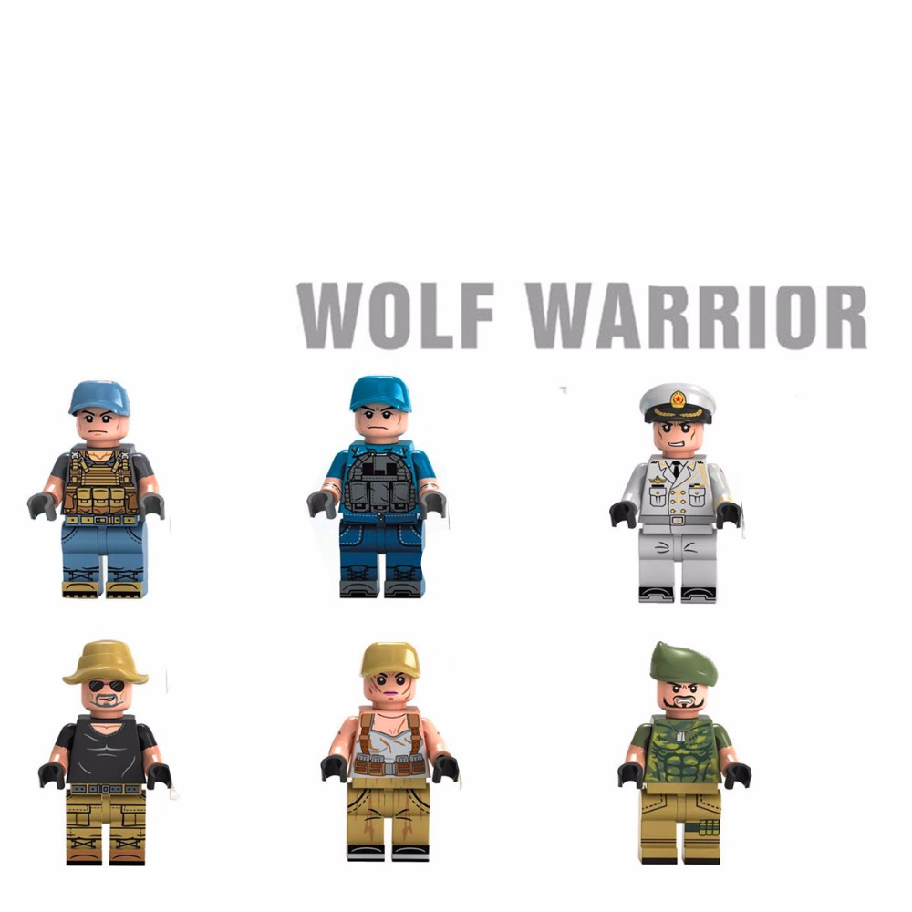 6pcs Wolf Warriors MILITARY Army World War SWAT Soldiers Weapon Special Forces Navy Seals Building Blocks Figures Toys for Boys 6pcs swat special forces police the wraith assault cs with motorcycles weapons figures building blocks bricks toys for kids