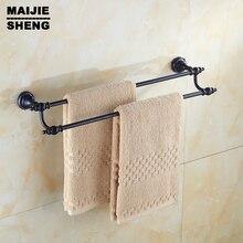 Латунь полотенце держатель аксессуары для ванной Все латунь черный шар одноместный двухместный ванная комната вешалка для полотенец настенная вешалка для полотенец полка