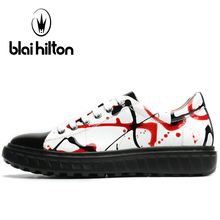 Blaibilton Genuine Leather Skateboard Shoes For Men Breathable Men's Sneakers 2017 Light Weight Lace Up Sport Shoes Man Brand