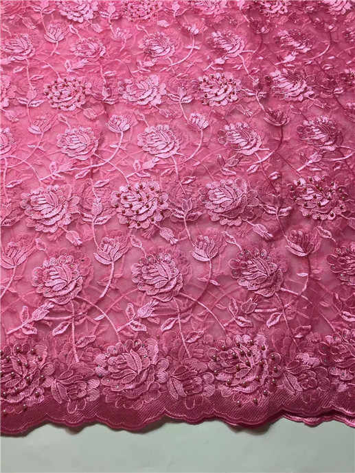 High Quality African Lace Fabric Net 2017 French Lace Fabric Tulle With pearl Gold Nigerian Lace Fabric For Wedding