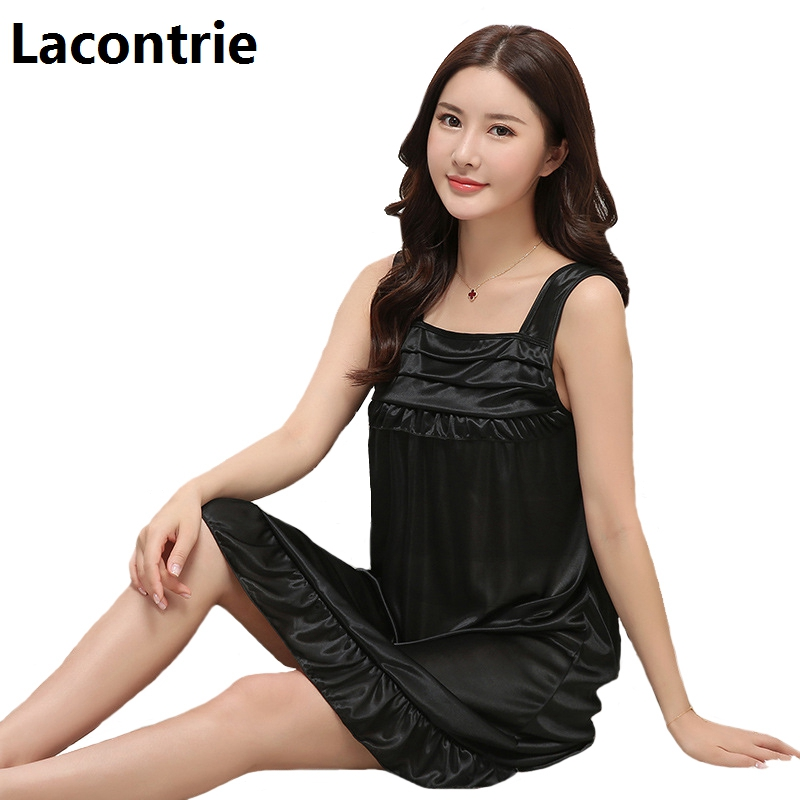 Lacontrie Spring Summer Women Sexy Spaghetti Strap Nightdress Comfort Home Wear Feminine Temptation Simulation Soft Nightgrowns