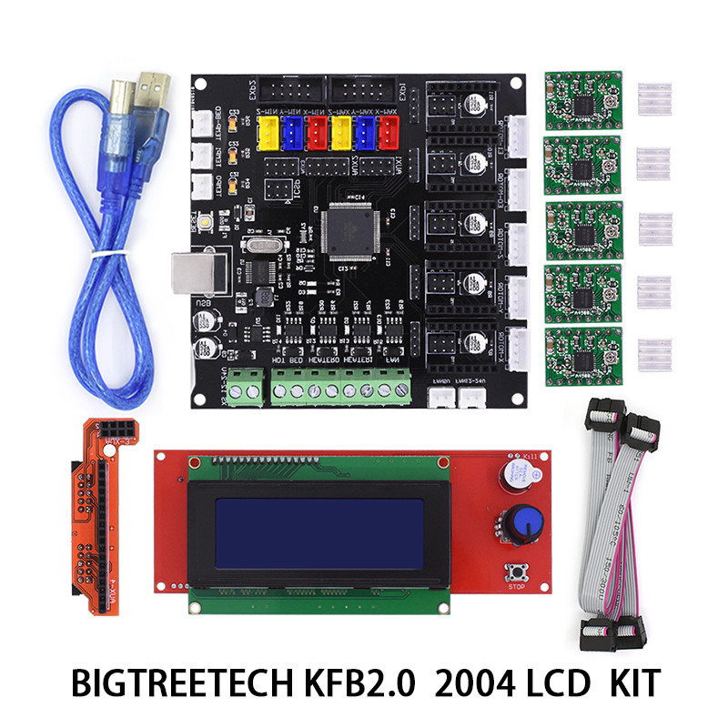 Bigtreetech New KFB 2.0 Motherboard Reprap Controller MainBoard+2004LCD Board For 3D Printer Heatbed